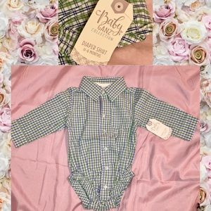 Baby Ganz NWT 0-6m Diaper Shirt Button Down Onesie
